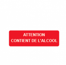Attention, contient de l'alcool  30x10 mm